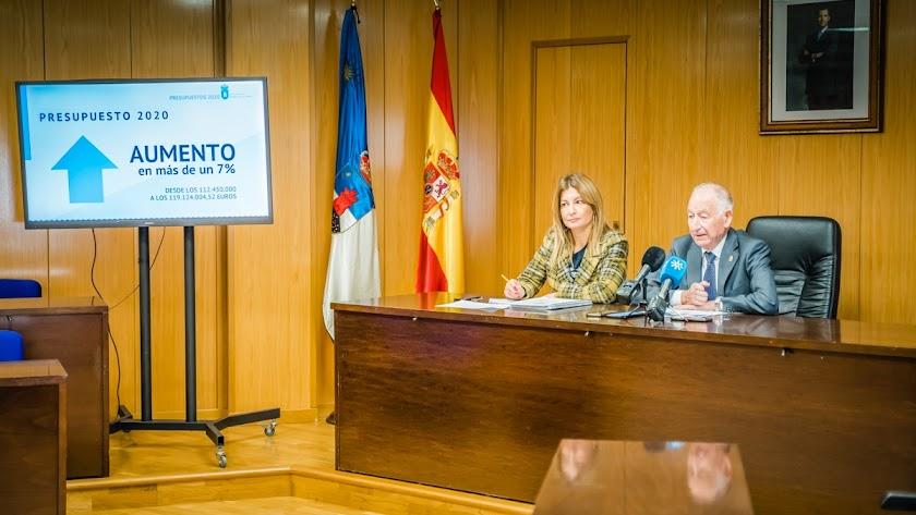 Gabriel Amat y  Mayte Fernández, en la presentación del presupuesto.
