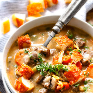 ONE POT Philly Cheesesteak Soup.