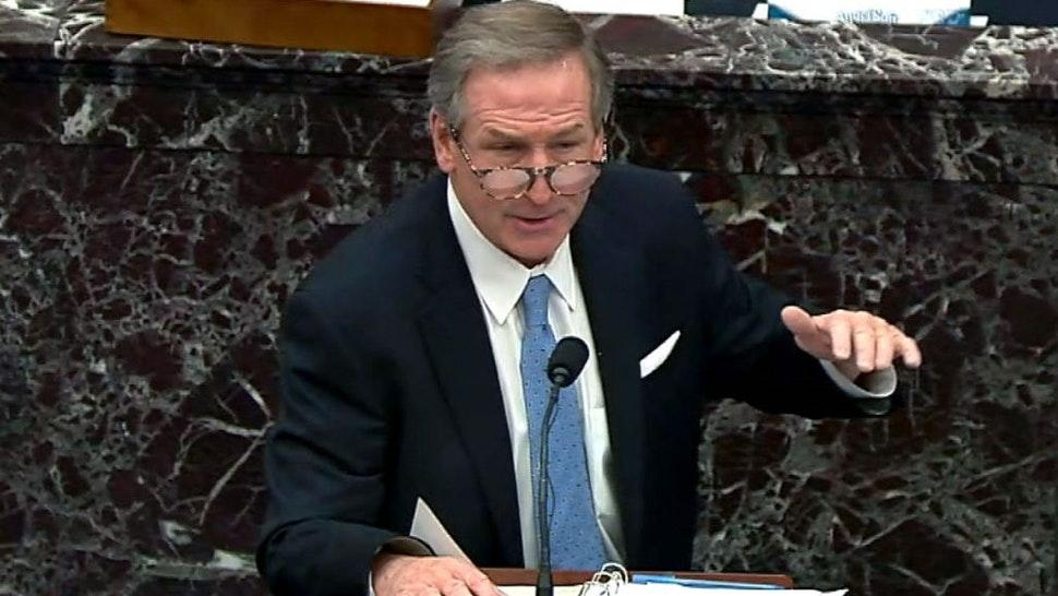 "WASHINGTON, DC - FEBRUARY 13: In this screenshot taken from a congress.gov webcast, Michael van der Veen, defense lawyer for former President Donald Trump, gives closing arguments on the fifth day of former President Donald Trump's second impeachment trial at the U.S. Capitol on February 13, 2021 in Washington, DC. House impeachment managers had argued that Trump was ""singularly responsible"" for the January 6th attack at the U.S. Capitol and he should be convicted and barred from ever holding public office again. (Photo by congress.gov via Getty Images)"