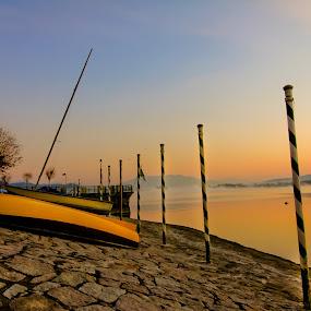Yellow Boat by Cristina Casati - Transportation Boats