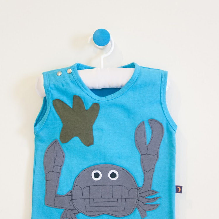 Star Moon Mr Crab Singlet in Turquoise (4 years)
