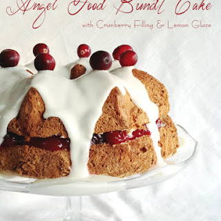 Angel Food Bundt Cake with Cranberry Filling and Lemon Glaze ~ #BundtBakers