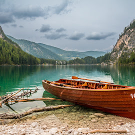 by Mario Horvat - Transportation Boats ( outdoor, dolomites, mountains, nature, lake, boat, italy,  )