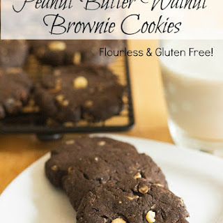 Flourless Peanut Butter Walnut Brownie Cookies