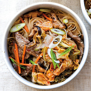 Korean-Style Noodles with Steak and Kimchi.