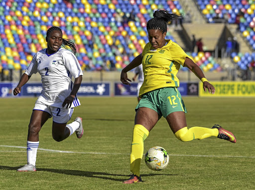 Banyana striker Jermaine Seoposenwe, right, is confident they will qualify for the Olympics and World Cup.