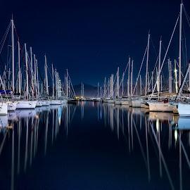 by Atilla Tuncer - Transportation Boats ( sail, marina, fethiye, nightscape )