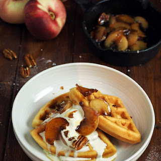 Caramelized Nectarine And Pecan Waffles