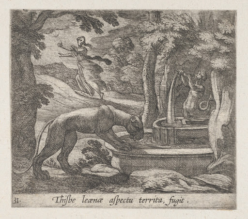 Plate 31: Thisbe Running from the Lionness at the Well (Thisbe leaenae spectu territa fugit), from Ovid's 'Metamorphoses'