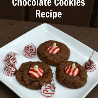Candy Cane Kisses Peppermint Chocolate Cookies.