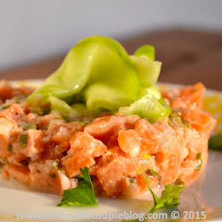 Salmon Tartare with Sweet & Sour Cucumber.