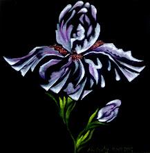 Photo: 331, Нетронина Наталья, Серия Цветы –Ирис махровый, Масло, бархат (живопись по бархату), 33х33см,