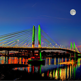 Tillakom crossing bridge by John Broughton - Buildings & Architecture Bridges & Suspended Structures ( cityscapes, moon, reflections, bridge, river,  )