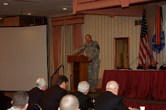 Photo: Brig. Gen. Ed Cardon, CGSC Deputy Commandant, delivers opening remarks to the ethics symposium attendees at the Frontier Conference Center, Nov. 17.