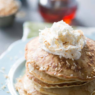 Toasted Coconut Pancakes with Maple Ginger Syrup