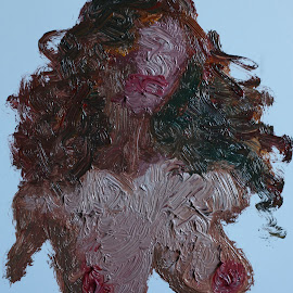 I am the light on your face, breasts and nipples... by To Mi - Painting All Painting ( oil, paper, painting, nipples, erotic, nude, girl, portrait, breasts )