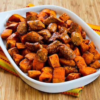 Easy Spicy Roasted Sweet Potatoes and Chicken-Garlic Sausage.