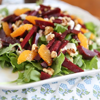 Spring Beet and Goat Cheese Salad with Walnuts.