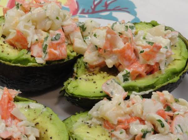 Cilantro Lime Seafood Salad (In An Avocado Boat)_image