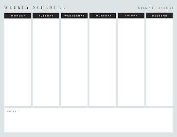 Simple Week Schedule - Weekly Planner template