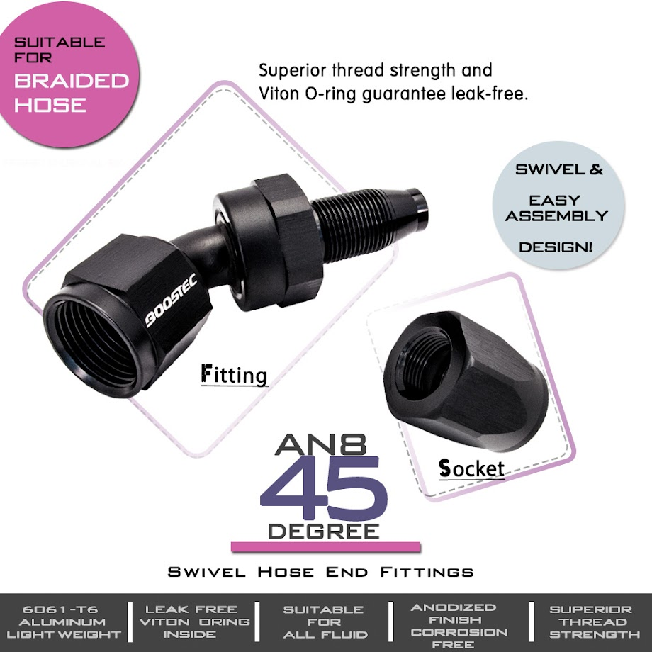 An8 8an an 8 45 degree reusable swivel ptfe hose end - Swivel Hose End Fitting An8 8an 45 Degree Black 6061 T6 Aluminum Light Weight Fittings