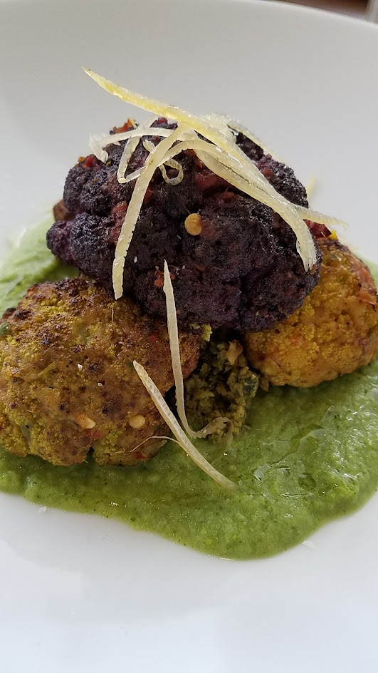 Headwaters Spit Roasted Cauliflower with broccoli sauce and vadouvan