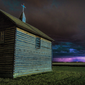 Old Church Lightning Storm by Charles Adam - Buildings & Architecture Public & Historical ( clouds, field, eerie, wind, lightning, wood, church, pioneer, dark, storm, worship, darkness, rain )