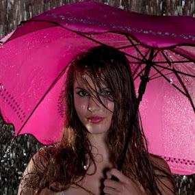 Pink Morton Salt Girl by Nick Soefje - People Portraits of Women ( www-hi-tech-photography.com, sexy, wet hair, bikini, wet, rain )