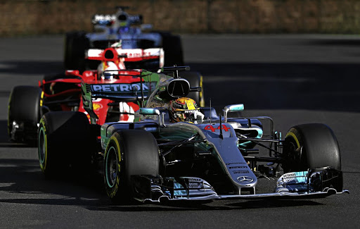 Road rage: Lewis Hamilton leads Sebastian Vettel in Baku where their rivalry was cranked up a few notches. Picture: GETTY IMAGES