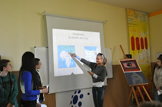 Photo: Discussing if the Amazon or the Nile is the longest river.