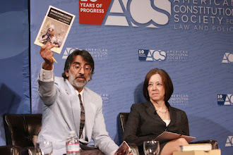 """Photo: Akhil Amar, professor at Yale Law School, and Judge Diane P. Wood, of the U.S. Court of Appeals for the Seventh Circuit, participate in the """"Text, History and Principle: What Our Constitution Means and How to Interpret It"""" session."""