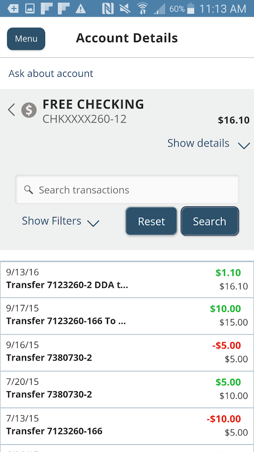 Hanscom FCU Mobile Access- screenshot