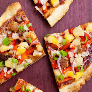 Vegan Hawaiian BBQ Pizza.