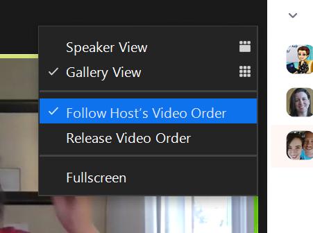 screenshot of follow host's video order options