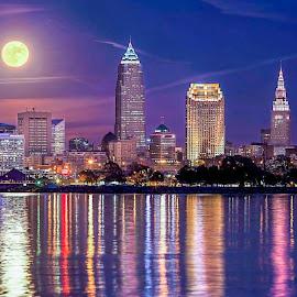 by Joe Uhase - City,  Street & Park  Skylines ( skyline, moon, skyscrapers, waterscape, landscape )