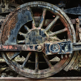 Steam Train Drive Wheel by Christopher Barker - Artistic Objects Industrial Objects ( drive wheel, engine, qwas, award, train, steam )