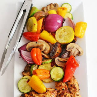 How to Make Grilled Rainbow Vegetables and Portuguese Chicken.