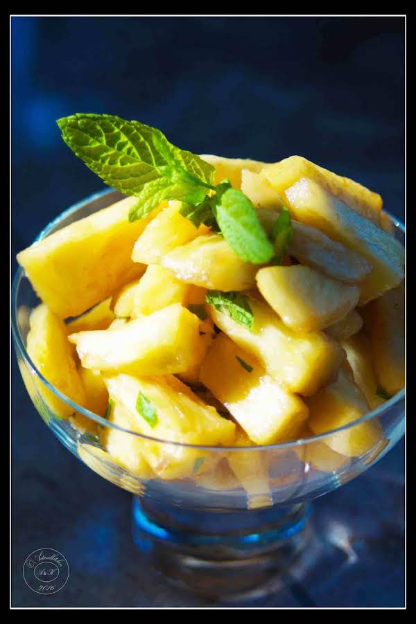 Pineapple In Port With Fresh Chopped Mint Recipe