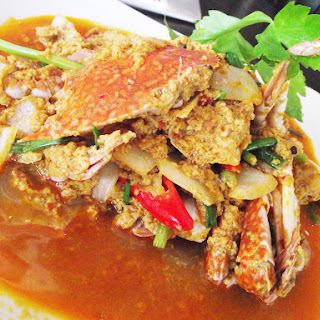 STIR-FRIED CRAB MEAT WITH CURRY POWDER.