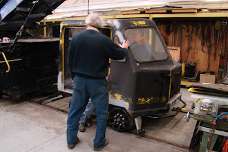 Photo: Test fitting body after chassis shake-down test.  Photo by J. Loucks