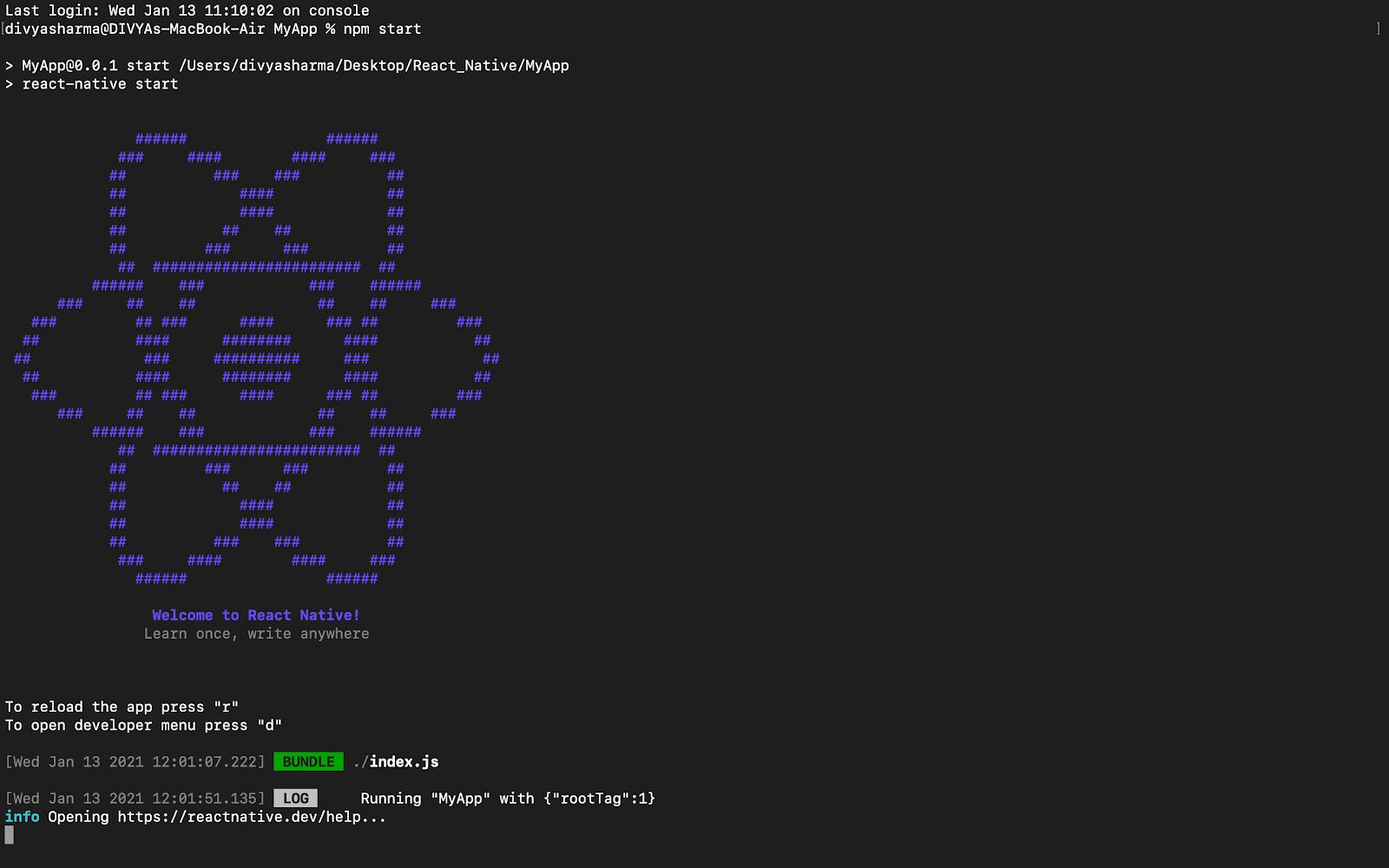 Run the server npm start