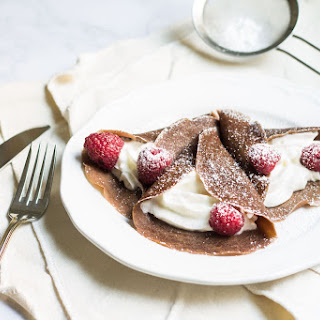 Chocolate Crepes with Raspberries and Cream Recipe