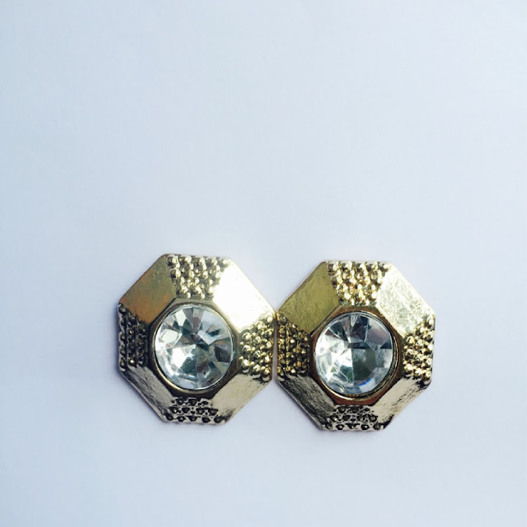 E025 - G. Octagon Silhouette Crystal Earrings