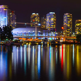 Vancouver by Cory Bohnenkamp - City,  Street & Park  Skylines ( water, skyline, false creek, vista, reflections, burrard inlet, night, vancouver )