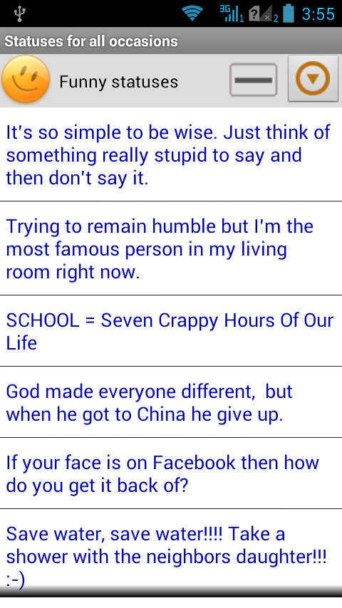 Statuses for all occasions- screenshot