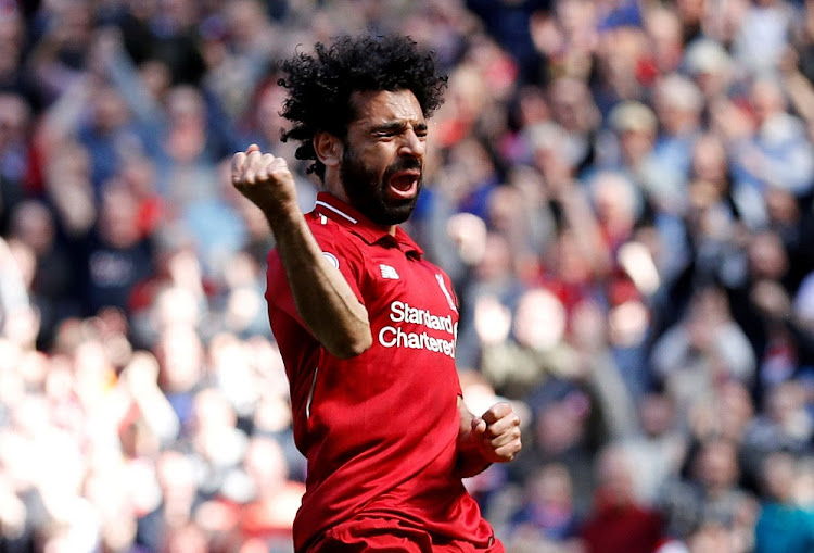 Liverpool's Mohamed Salah celebrates scoring their first goal against Brighton & Hove Albion at Anfield, Britain, May 13 2018. Picture: REUTERS