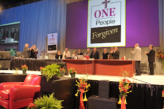 Photo: Honorees received a standing ovation of thanks from the Synod Convention participants.