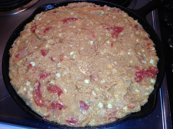 Now rinse skillet, add 1/2C oil, can chicken broth, masa and/or corn meal then...
