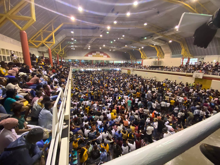 Hundreds of prospective students packed into DUT's Steve Biko sports centre on Tuesday with little regard for Covid-19 regulations.