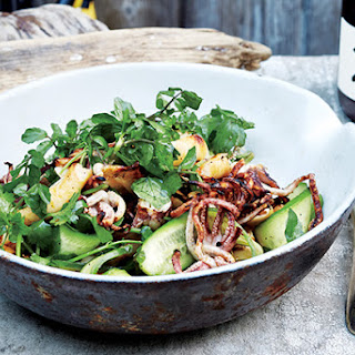Squid Salad with Cucumber, Watercress, and Cilantro.
